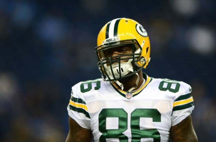 Sep 21, 2014; Detroit, MI, USA; Green Bay Packers tight end Brandon Bostick (86) against the Detroit Lions at Ford Field. Mandatory Credit: Andrew Weber-USA TODAY Sports