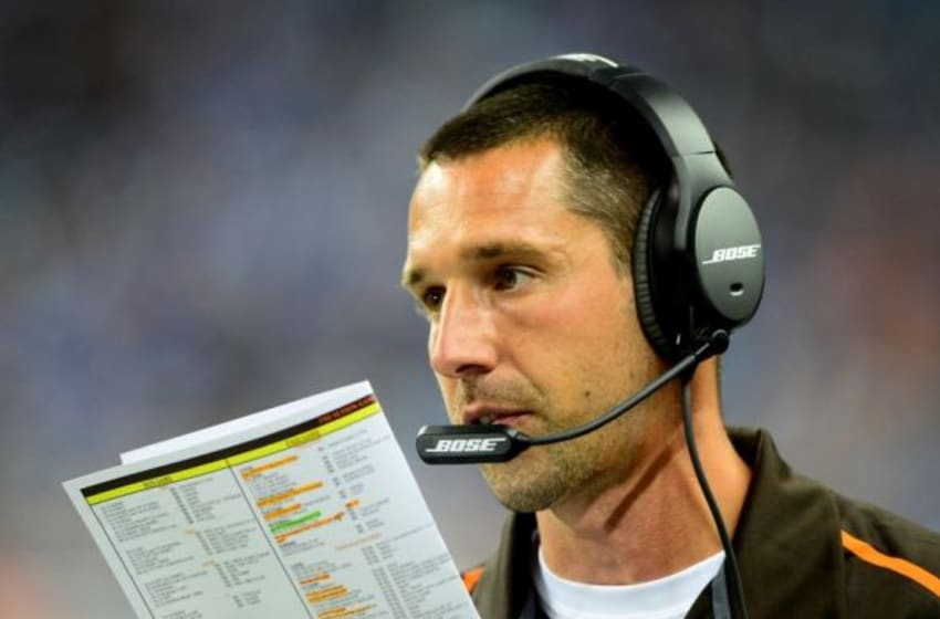 Aug 9, 2014; Detroit, MI, USA; Cleveland Browns offensive coordinator Kyle Shanahan on the sidelines during the second quarter against the Detroit Lions at Ford Field. Mandatory Credit: Andrew Weber-USA TODAY Sports