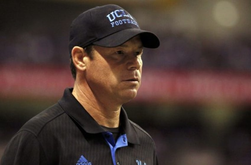 Jan 2, 2015; San Antonio, TX, USA; UCLA Bruins head coach Jim L. Mora looks onto the field during the first half of the 2015 Alamo Bowl against the Kansas State Wildcats at Alamodome. Mandatory Credit: Soobum Im-USA TODAY Sports