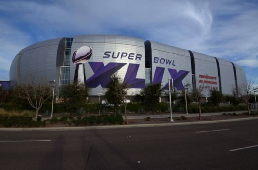Jan 23, 2015; Glendale, AZ, USA; General view of University of Phoenix Stadium in advance of Super Bowl XLIX between the Seattle Seahawks and the New England Patriots. Mandatory Credit: Kirby Lee-USA TODAY Sports