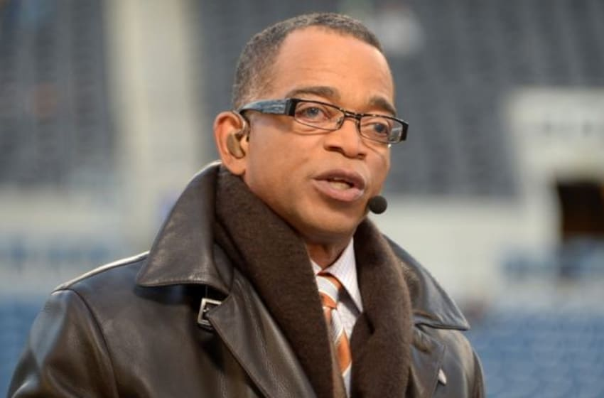 Dec 2, 2013; Seattle, WA, USA; ESPN broadcaster Stuart Scott on the Monday Night Countdown set before the NFL game between the New Orleans Saints and the Seattle Seahawks at CenturyLink Field. Mandatory Credit: Kirby Lee-USA TODAY Sports