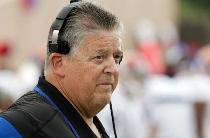 Sep 13, 2014; Durham, NC, USA; Kansas Jayhawks head coach Charlie Weis on the sidelines against the Duke Blue Devils at Wallace Wade Stadium. Mandatory Credit: Mark Dolejs-USA TODAY Sports