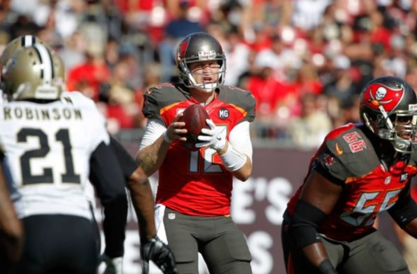Dec 28, 2014; Tampa, FL, USA; Tampa Bay Buccaneers quarterback Josh McCown (12) drops back during the first quarter against the New Orleans Saints at Raymond James Stadium. Mandatory Credit: Kim Klement-USA TODAY Sports