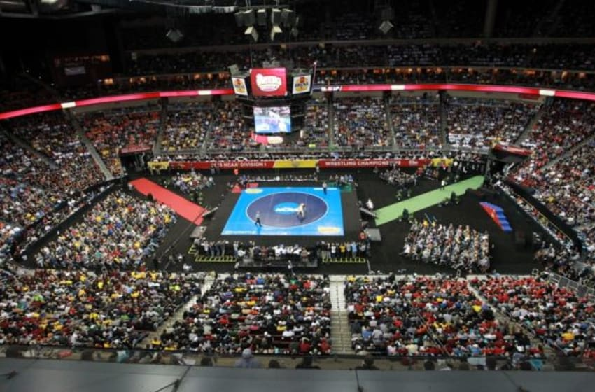 Mar 23, 2013; Des Moines, IA, USA; A general view during the NCAA wrestling Division I championship at Wells Fargo Arena. Mandatory Credit: Reese Strickland-USA TODAY Sports