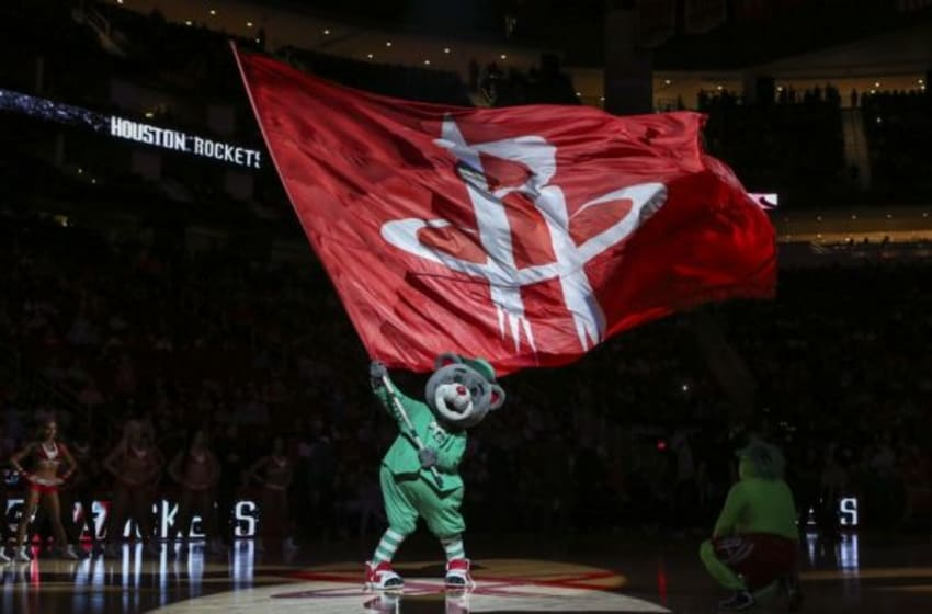 Mar 17, 2015; Houston, TX, USA; Houston Rockets mascot Clutch entertains fans before a game against the Orlando Magic at Toyota Center. Mandatory Credit: Troy Taormina-USA TODAY Sports
