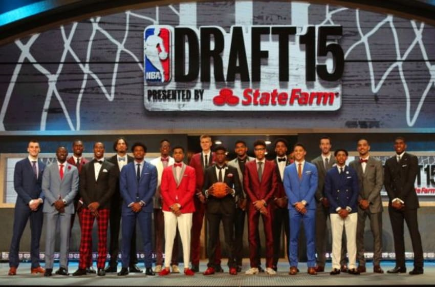 Jun 25, 2015; Brooklyn, NY, USA; Prospects post for a group picture before the start of the 2015 NBA Draft at Barclays Center. Mandatory Credit: Brad Penner-USA TODAY Sports