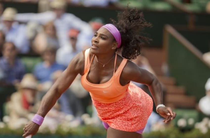 Jun 3, 2015; Paris, France; Serena Williams (USA) in action during her match against Sara Errani (ITA) on day 11 of the 2015 French Open at Roland Garros. Mandatory Credit: Susan Mullane-USA TODAY Sports