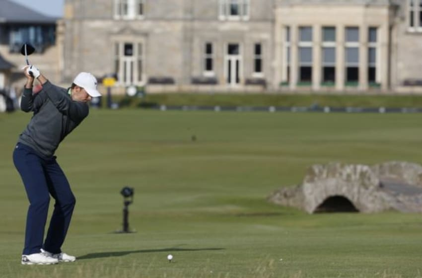 Jul 18, 2015; St. Andrews, Fife, SCT; Jordan Spieth tees off on the 18th hole on the second round during the third day of the 144th Open Championship at St. Andrews - Old Course. Mandatory Credit: Brian Spurlock-USA TODAY Sports