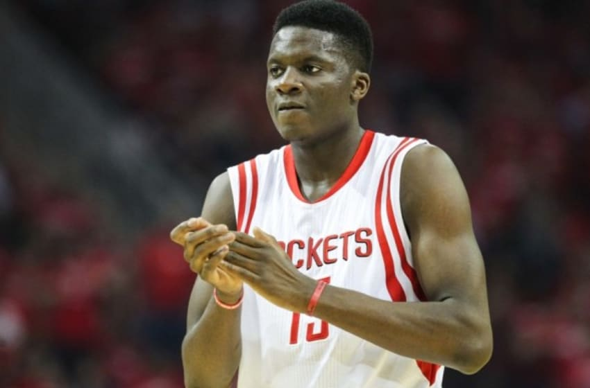 May 6, 2015; Houston, TX, USA; Houston Rockets center Clint Capela (15) in game two of the second round of the NBA Playoffs against the Los Angeles Clippers at Toyota Center. Mandatory Credit: Troy Taormina-USA TODAY Sports