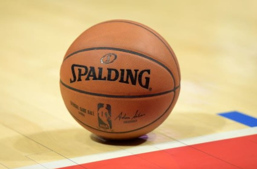 Oct 17, 2014; Los Angeles, CA, USA; General view of a Spalding basketball with the signature of NBA commissioner Adam Silver (not pictured) at Staples Center. Mandatory Credit: Kirby Lee-USA TODAY Sports