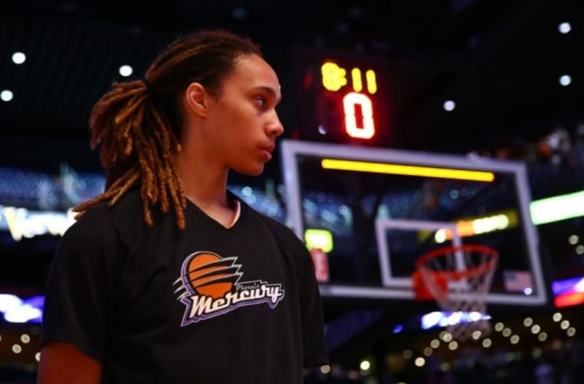 Sep 9, 2014; Phoenix, AZ, USA; Phoenix Mercury center Brittney Griner (42) prior to the game against the Chicago Sky during game two of the WNBA Finals at US Airways Center. The Mercury defeated the Sky 97-68. Mandatory Credit: Mark J. Rebilas-USA TODAY Sports