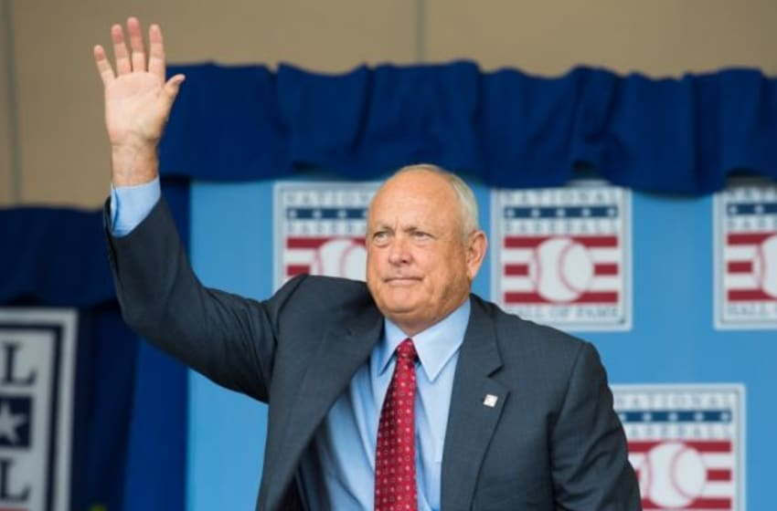 Jul 27, 2014; Cooperstown, NY, USA; Hall of Fame player Nolan Ryan responds to being introduced during the class of 2014 national baseball Hall of Fame induction ceremony at National Baseball Hall of Fame. Mandatory Credit: Gregory J. Fisher-USA TODAY Sports
