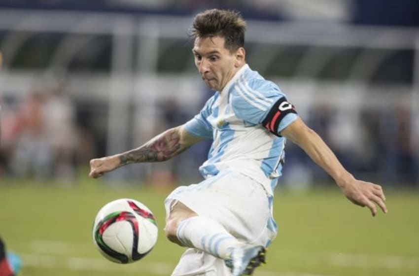 Sep 8, 2015; Arlington, TX, USA; Argentina forward Lionel Messi (10) scores a goal in the second half against Mexico at AT&T Stadium. Argentina played Mexico to a 2-2 tie. Mandatory Credit: Tim Heitman-USA TODAY Sports