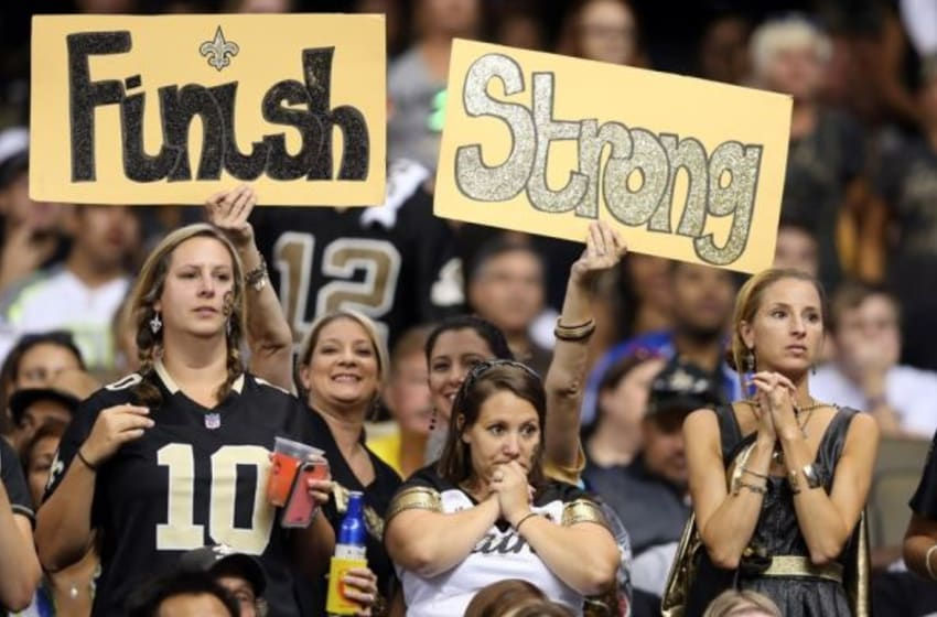 Sep 20, 2015; New Orleans, LA, USA; New Orleans Saints fans in the second half of their game against the Tampa Bay Buccaneers at the Mercedes-Benz Superdome. The Tampa Bay Buccaneers won, 23-19.Mandatory Credit: Chuck Cook-USA TODAY Sports