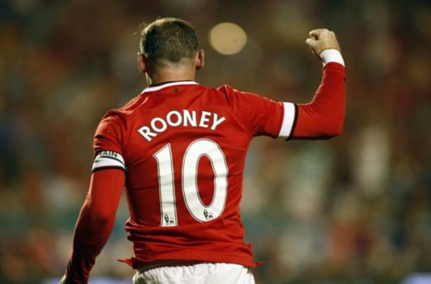 Aug 4, 2014; Miami Gardens, FL, USA; Manchester United forward Wayne Rooney (10) celebrates his goal against Liverpool in the second half at Sun Life Stadium. Mandatory Credit: Robert Mayer-USA TODAY Sports