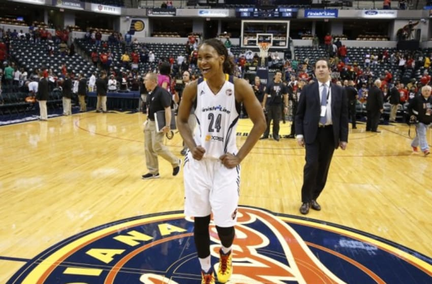 Oct 11, 2015; Indianapolis, IN, USA; Indiana Fever forward Tamika Catchings (24) smiles as she walks off the floor after the game against the Minnesota Lynx during game four of the WNBA Finals at Bankers Life Fieldhouse. Indiana defeats Minnesota 75-69. Mandatory Credit: Brian Spurlock-USA TODAY Sports