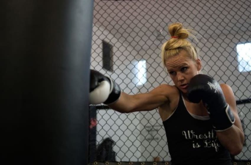 ALBUQUERQUE, NM - OCTOBER 30: Holly Holm hits the punching bag at Jackson's Mixed Martial Arts & Fitness on October 30, 2015 in Albuquerque, New Mexico. (Photo by Brandon Magnus/Zuffa LLC/Zuffa LLC via Getty Images)