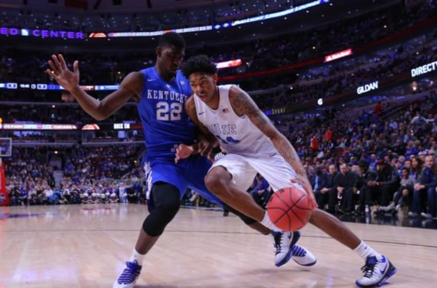 Nov 17, 2015; Chicago, IL, USA; Duke Blue Devils guard Brandon Ingram (14) moves against Kentucky Wildcats forward Alex Poythress (22) during the first half at the United Center. Mandatory Credit: Dennis Wierzbicki-USA TODAY Sports