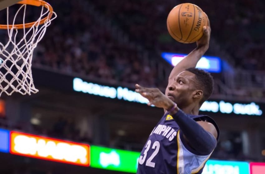 Nov 7, 2015; Salt Lake City, UT, USA; Memphis Grizzlies forward Jeff Green (32) dunks the ball during the first half against the Utah Jazz at Vivint Smart Home Arena. Mandatory Credit: Russ Isabella-USA TODAY Sports