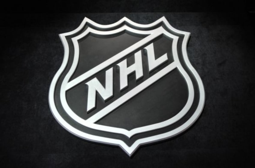 Jun 26, 2015; Sunrise, FL, USA; A general view of the NHL shield logo before the first round of the 2015 NHL Draft at BB&T Center. Mandatory Credit: Steve Mitchell-USA TODAY Sports