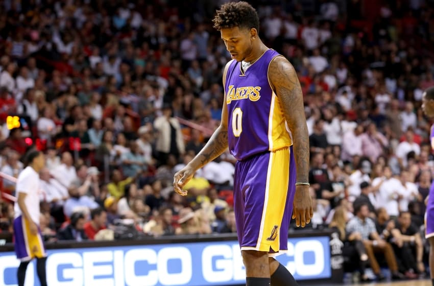 Nov 10, 2015; Miami, FL, USA; Los Angeles Lakers forward Nick Young (0) reacts during the second half against Miami Heat at American Airlines Arena. Mandatory Credit: Steve Mitchell-USA TODAY Sports