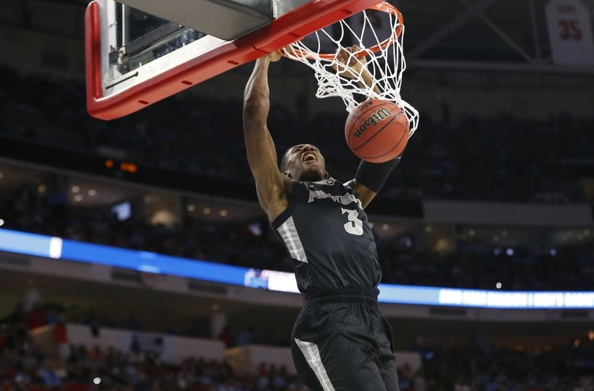 Mar 19, 2016; Raleigh, NC, USA; Providence Friars guard Kris Dunn (3) dunks the ball against the North Carolina Tar Heels in the second half during the second round of the 2016 NCAA Tournament at PNC Arena. Mandatory Credit: Geoff Burke-USA TODAY Sports