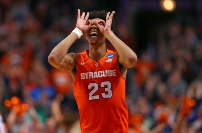 Mar 27, 2016; Chicago, IL, USA; Syracuse Orange guard Malachi Richardson (23) reacts to scoring during the second half against the Virginia Cavaliers in the championship game of the midwest regional of the NCAA Tournament at the United Center. Mandatory Credit: Dennis Wierzbicki-USA TODAY Sports
