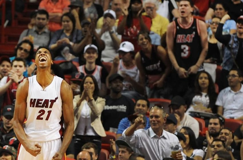 Apr 5, 2016; Miami, FL, USA; Miami Heat center Hassan Whiteside (21) reacts during the second half of Tuesday night