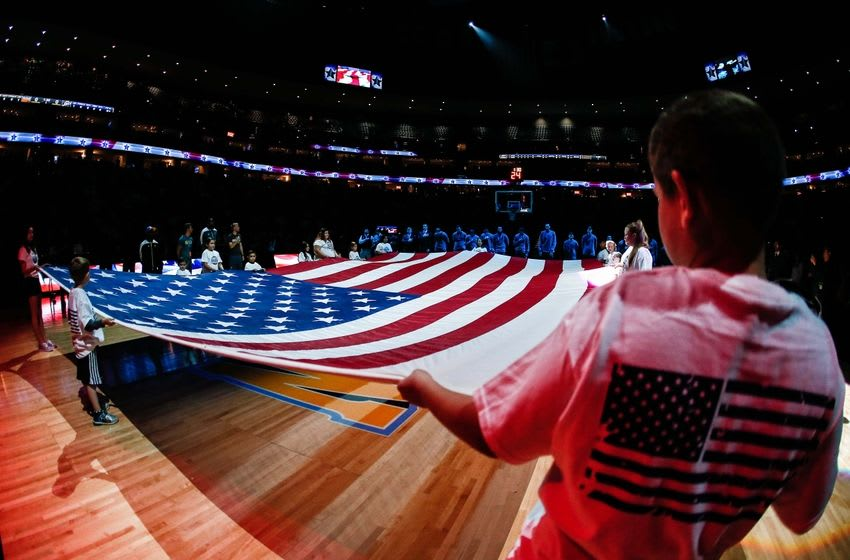 Apr 10, 2016; Denver, CO, USA; A general view of the American Flag being displayed prior to the game between the Denver Nuggets and the Utah Jazz at the Pepsi Center. Mandatory Credit: Isaiah J. Downing-USA TODAY Sports