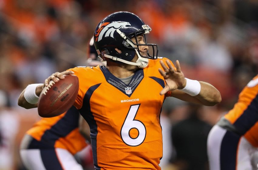 Aug 20, 2016; Denver, CO, USA; Denver Broncos quarterback Mark Sanchez (6) against the San Francisco 49ers during the second quarter at Sports Authority Field at Mile High. The 49ers beat the Broncos 31-24. Mandatory Credit: Troy Babbitt-USA TODAY Sports