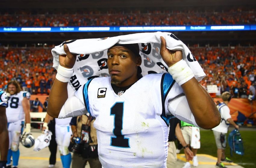 Sep 8, 2016; Denver, CO, USA; Carolina Panthers quarterback Cam Newton (1) reacts following the game against the Denver Broncos at Sports Authority Field at Mile High. The Broncos defeated the Panthers 21-20. Mandatory Credit: Mark J. Rebilas-USA TODAY Sports