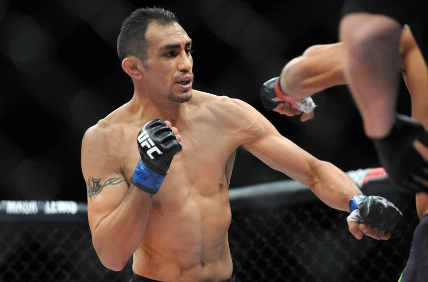 December 11, 2015; Las Vegas, NV, USA; Tony Ferguson fights against Edson Barboza during The Ultimate Fighter Finale at The Chelsea at The Cosmopolitan. Mandatory Credit: Gary A. Vasquez-USA TODAY Sports