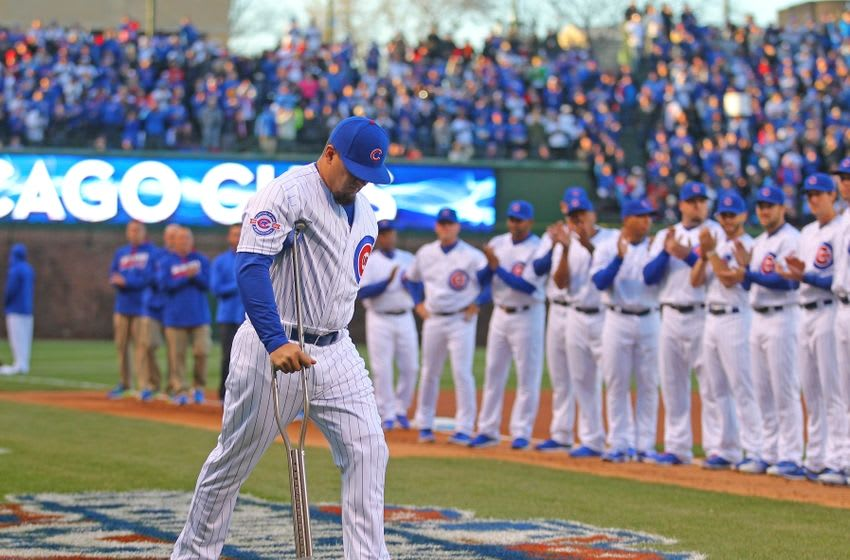 Apr 11, 2016; Chicago, IL, USA; Chicago Cubs left fielder Kyle Schwarber (12) is introduced prior to a game against the Cincinnati Reds at Wrigley Field. Mandatory Credit: Dennis Wierzbicki-USA TODAY Sports