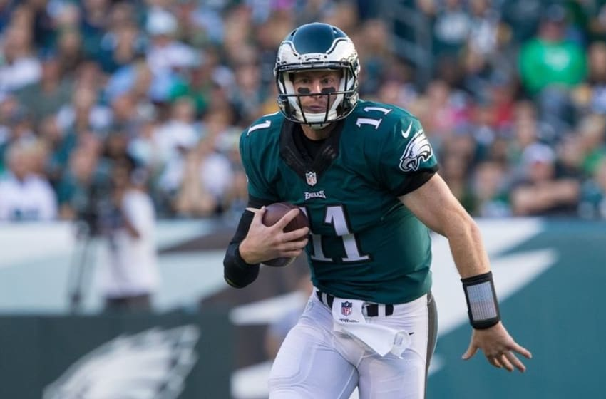Sep 25, 2016; Philadelphia, PA, USA; Philadelphia Eagles quarterback Carson Wentz (11) in action against the Pittsburgh Steelers at Lincoln Financial Field. The Philadelphia Eagles won 34-3. Mandatory Credit: Bill Streicher-USA TODAY Sports