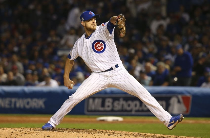 Oct 29, 2016; Chicago, IL, USA; Chicago Cubs relief pitcher Justin Grimm (52) delivers a pitch during the seventh inning in game four of the 2016 World Series against the Cleveland Indians at Wrigley Field. Mandatory Credit: Jerry Lai-USA TODAY Sports
