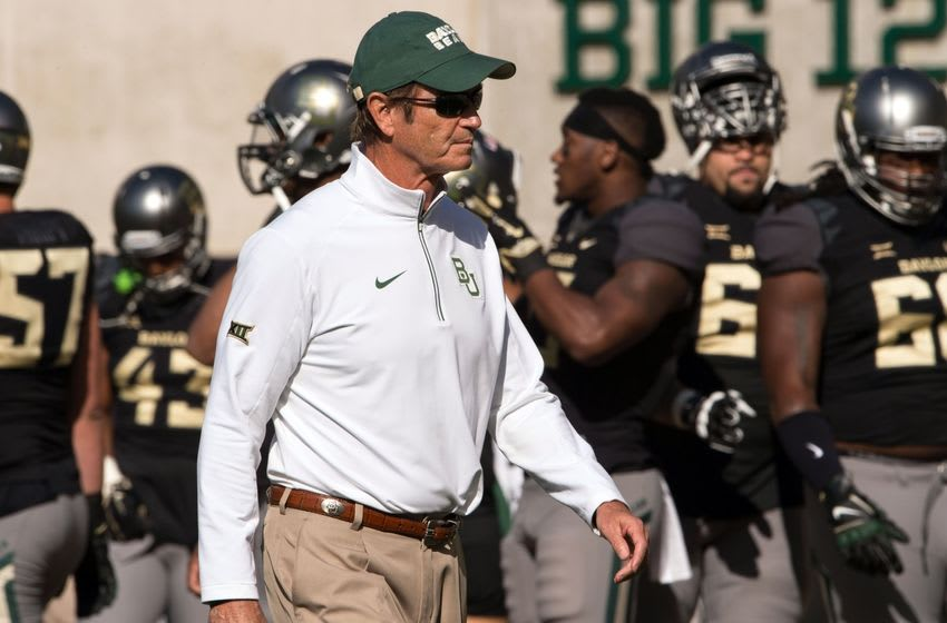 Oct 17, 2015; Waco, TX, USA; Baylor Bears head coach Art Briles watches his team warm up before the game against the West Virginia Mountaineers at McLane Stadium. Mandatory Credit: Jerome Miron-USA TODAY Sports