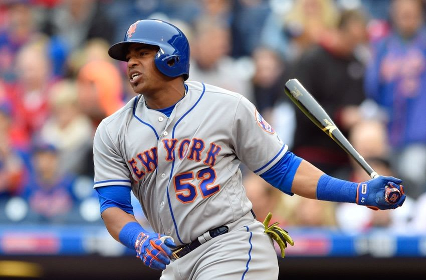 Oct 1, 2016; Philadelphia, PA, USA; New York Mets left fielder Yoenis Cespedes (52) in action during a baseball game against the Philadelphia Phillies at Citizens Bank Park. Mandatory Credit: Derik Hamilton-USA TODAY Sports