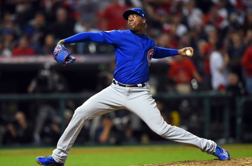 Nov 1, 2016; Cleveland, OH, USA; Chicago Cubs relief pitcher Aroldis Chapman throws a pitch against the Cleveland Indians in the 8th inning in game six of the 2016 World Series at Progressive Field. Mandatory Credit: Tommy Gilligan-USA TODAY Sports
