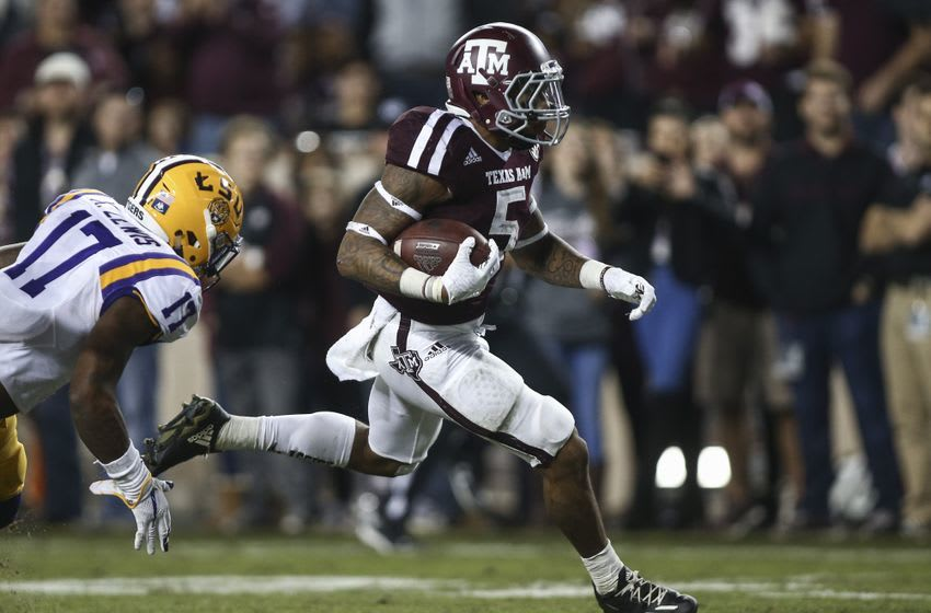 Nov 24, 2016; College Station, TX, USA; Texas A&M Aggies running back Trayveon Williams (5) runs for a touchdown during the third quarter against the LSU Tigers at Kyle Field. Mandatory Credit: Troy Taormina-USA TODAY Sports