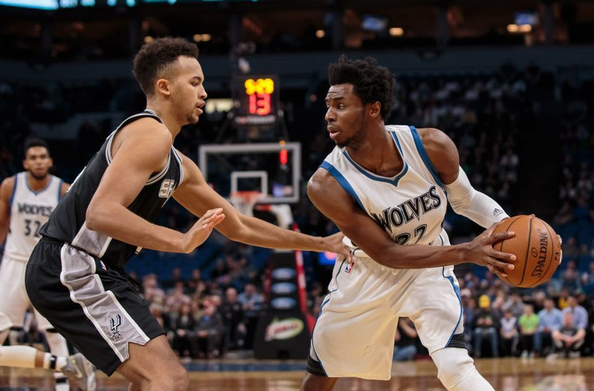 Dec 6, 2016; Minneapolis, MN, USA; Minnesota Timberwolves guard Andrew Wiggins (22) dribbles in the first quarter against the San Antonio Spurs at Target Center. Mandatory Credit: Brad Rempel-USA TODAY Sports