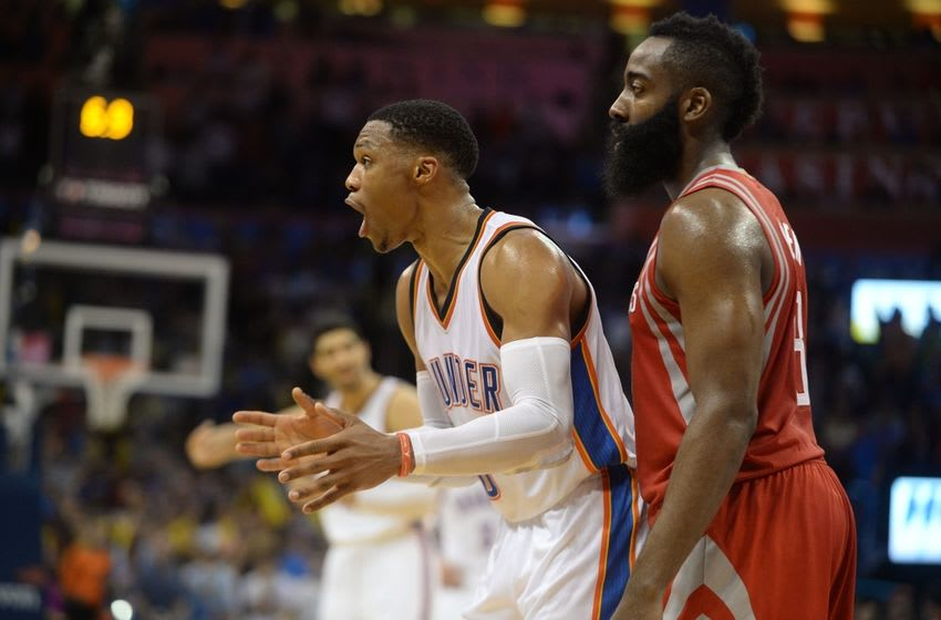 Oklahoma City Thunder guard Russell Westbrook (0) and Houston Rockets guard James Harden (13) go head to head as two of the big stars in tonight's FanDuel daily picks. Mandatory Credit: Mark D. Smith-USA TODAY Sports