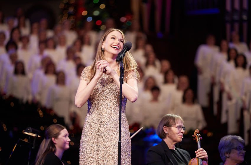 Sutton Foster performs with the Mormon Tabernacle Choir. Photo Credit: Courtesy of Mormon Newsroom.