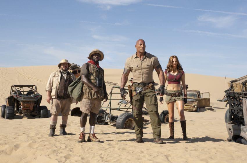 Jack Black, Kevin Hart, Dwayne Johnson and Karen Gillan star in JUMANJI: The Next Level.