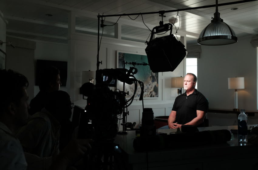 AJ Schnack interviews Mark McGwire for Long Gone Summer. (Credit: Liliana Soto, Courtesy of ESPN)
