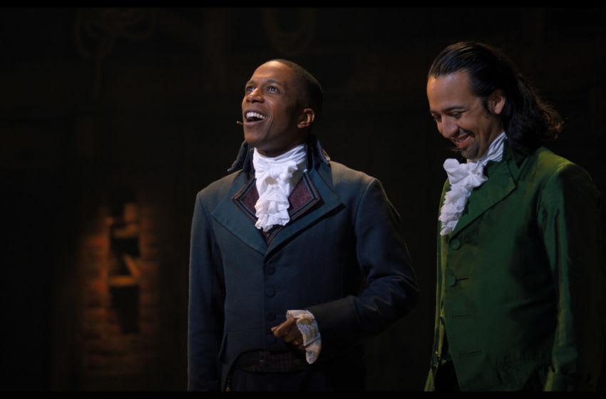 Lin-Manuel Miranda is Alexander Hamilton and Leslie Odom Jr. is Aaron Burr in Hamilton, the filmed version of the original Broadway production.