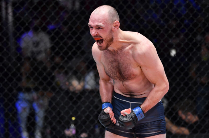 LAS VEGAS, NEVADA - OCTOBER 12: Viacheslav Borshchev reacts after his knockout victory over Chris Duncan in a lightweight fight during Dana White's Contender Series season five, week seven at UFC APEX on October 12, 2021 in Las Vegas, Nevada. (Photo by Chris Unger/Zuffa LLC)