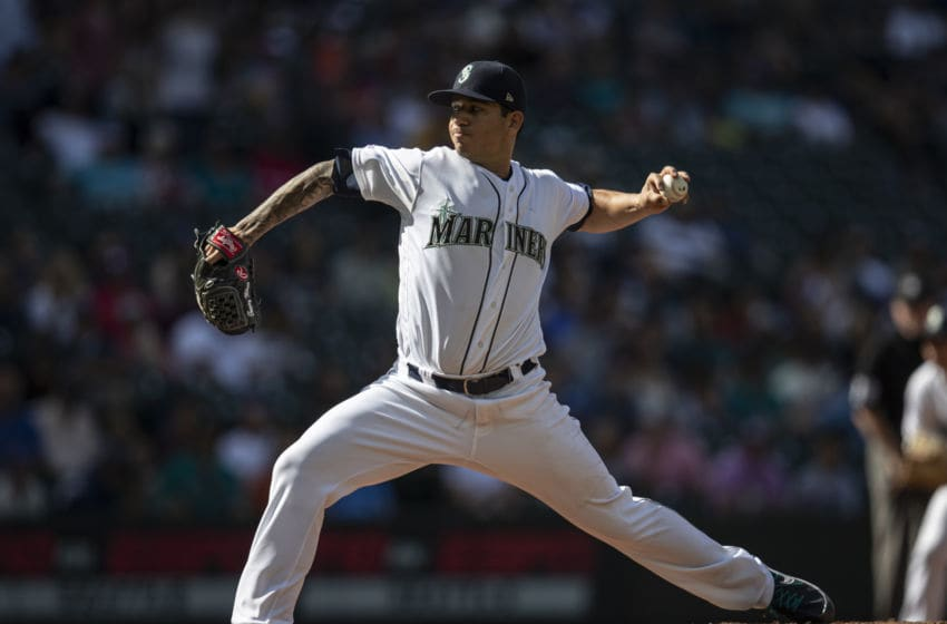 SEATTLE, WA - JUNE 1: Starter Tommy Milone #57 of the Seattle Mariners delivers a pitch during the second inning of a game against the Los Angeles Angels at T-Mobile Park on June 1, 2019 in Seattle, Washington. (Photo by Stephen Brashear/Getty Images)