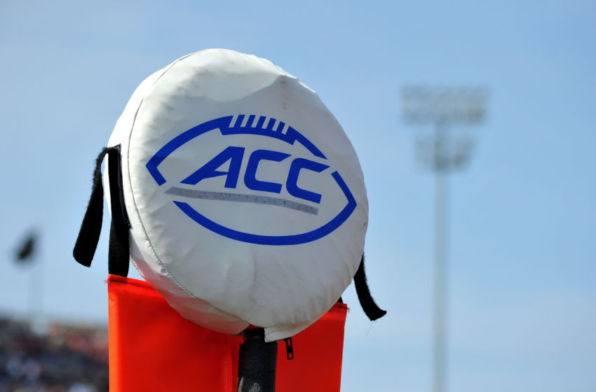 WINSTON-SALEM, NC - OCTOBER 24: The ACC logo is seen on a field marker during a game between the North Carolina State Wolfpack and the Wake Forest Demon Deacons at BB