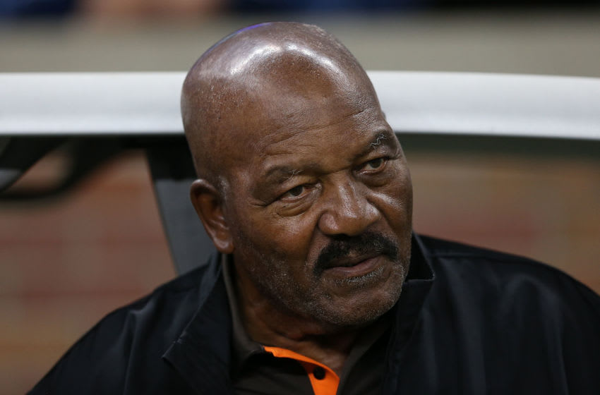 DETROIT, MI - AUGUST 09: Former Cleveland Browns running back and National Football League Hall of Famer Jim Brown watches the action from the sidelines prior to the start of the preseason game against the Detroit Lions at Ford Field on August 9, 2014 in Detroit, Michigan. The Lions defeated the Browns 13-12 in a preseason game. (Photo by Leon Halip/Getty Images)
