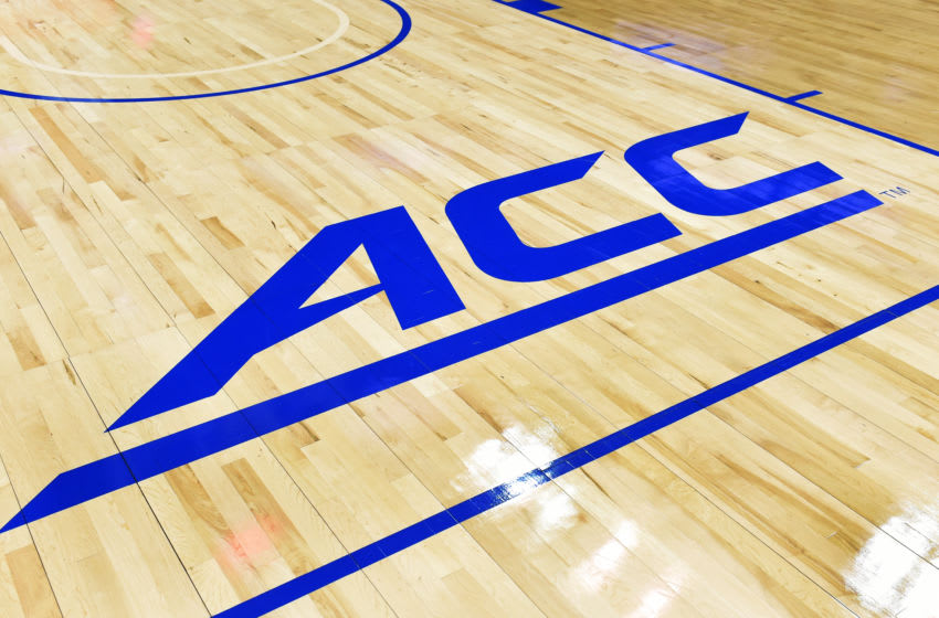 WASHINGTON, DC - MARCH 08: ACC logo on the floor before the first round game of the ACC Tournament between he North Carolina State Wolfpack and the Wake Forest Demon Deacons at the Verizon Center on March 8, 2016 in Washington, DC. The Wolfpack won 75-72. (Photo by Mitchell Layton/Getty Images)